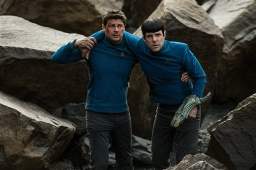 "In this image released by Paramount Pictures, Karl Urban portrays Bones, left, and Zachary Quinto portrays Spock in a scene from ""Star Trek Beyond."""