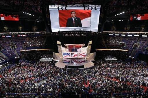 Sen. Ted Cruz, R-Tex., speaks during the third day session of the Republican National Convention in Cleveland, Wednesday, July 20, 2016.