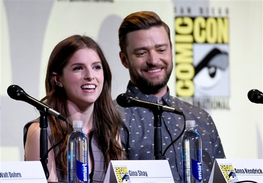 """Anna Kendrick, left, and Justin Timberlake attend the """"Trolls"""" panel on day 1 of Comic-Con International on Thursday, July 21, 2016, in San Diego."""