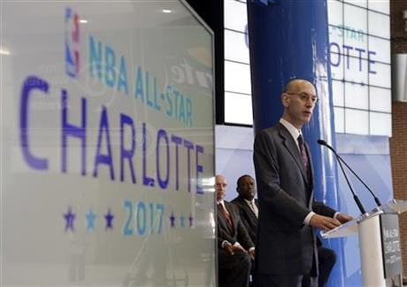 The NBA is moving the 2017 All-Star Game out of Charlotte because of its objections to a North Carolina law that limits anti-discrimination protections for lesbian, gay and transgender people, Thursday, July 21, 2016. (AP Photo/Chuck Burton, File)
