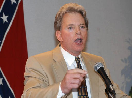 In this May 29, 2004, file photo, former Ku Klux Klan leader David Duke speaks to supporters in Kenner, La. Duke said he plans to run for U.S. Senate in Louisiana.