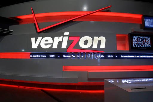 In this April 7, 2013, file photo, the Verizon studio booth at MetLife Stadium in East Rutherford, N.J. Verizon has agreed to buy online portal Yahoo Inc.