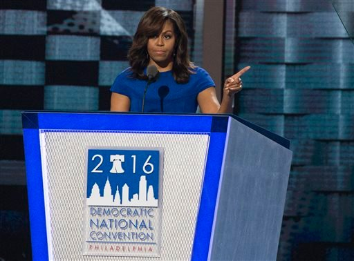 Michelle Obama speaks during the first night of the Democratic National Convention at the Wells Fargo Building on Monday, July 25, 2016, in Philadelphia, Pa. (Benjamin Hager/Las Vegas Review-Journal via AP)