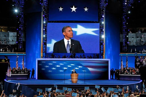 In this Sept. 6, 2012 file photo, President Barack Obama speaks at the Democratic National Convention in Charlotte, N.C.