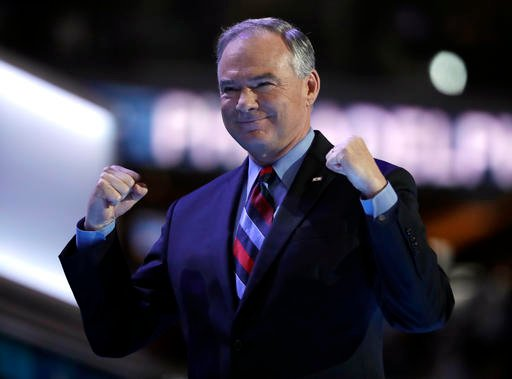 Democratic vice presidential candidate, Sen. Tim Kaine, D-Va., takes the stage during the third day session.