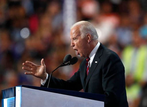 Vice President Joe Biden speaks during the third day of the Democratic National Convention in Philadelphia.