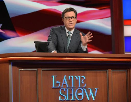 "In this July 27, 2016 photo released by CBS, Stephen Colbert, host of ""The Late Show with Stephen Colbert,"" appears during a broadcast in New York."
