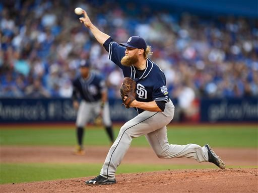 San Diego Padres starting pitcher Andrew Cashner throws against the Toronto Blue Jays during the first inning of a baseball game Tuesday, July 26, 2016, in Toronto.
