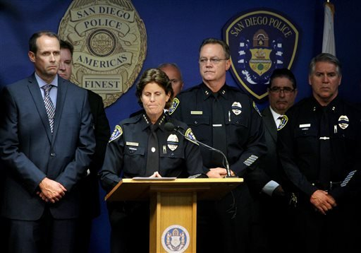 San Diego Police Chief Shelley Zimmerman holds a press conference Friday, July 29, 2016, to update the media on the death of police officer Jonathan DeGuzman and the condition of injured officer Irwin Wade who were both shot Thursday night. (John Gastaldo