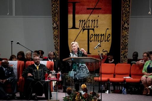 Democratic presidential candidate Hillary Clinton speaks at Imani Temple Ministries in Cleveland, Sunday, July 31, 2016. Clinton and running mate Sen. Tim Kaine are on a three day bus tour through the rust belt. (AP Photo/Andrew Harnik)