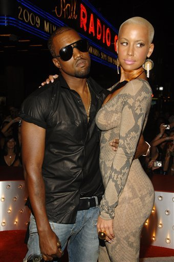 Kanye West and Amber Rose arrive at the MTV Video Music Awards on Sunday Sept. 13, 2009 in New York. (AP Photo/Peter Kramer)