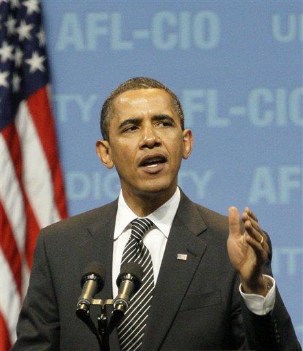 FILE PHOTO: President Barack Obama addresses the delegates attending the AFL-CIO convention in Pittsburgh, Tuesday, Sept. 15, 2009. (AP Photo/Gene J. Puskar)