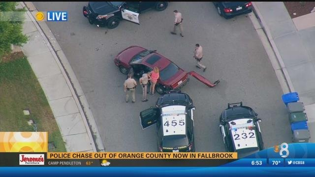 High Speed Chase Out Of La Ends In Fallbrook Cbs News 8