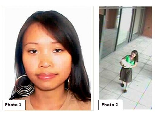 This composite photo released by New Haven Police Dept., shows Yale graduate student Annie Le in a video image entering 10 Amistad the morning of her disappearance on the campus at Yale University in new haven, Conn. Sept. 8, 2009.
