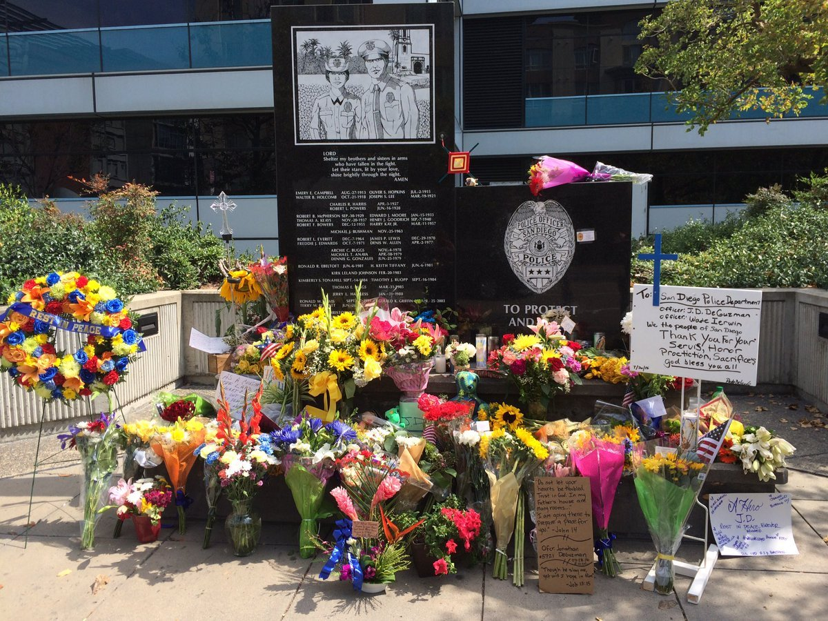 This is a memorial set up outside San Diego Police headquarters. Photo courtesy: @ChiefZimmerman.