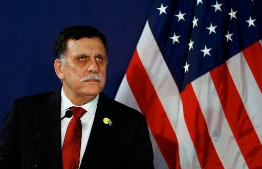 In this May 16, 2106 file-pool photo, Fayez al-Sarraj, the head of the U.N.-brokered presidency council, attends a news conference in Vienna, Austria. (Leonhard Foeger/Pool Photo via AP, File)