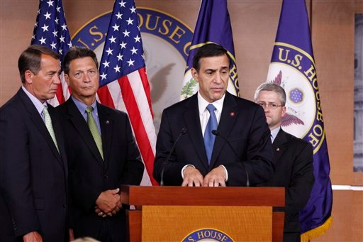 Rep. Darrell Issa, R-Calif., second from right, accompanied by, from left, House Minority Leader John Boehner of Ohio, Rep. Lynn Westmoreland, R-Ga., and Rep. Parick McHenry, R-N.C., speaks during a news conference on Capitol Hill in Washington.