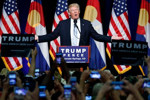 In this Friday, July 29, 2016 file photo, Republican presidential candidate Donald Trump speaks during a campaign rally in Colorado Springs, Colo. Trump broke a major American political and societal taboo over the weekend when he engaged in an emotionally