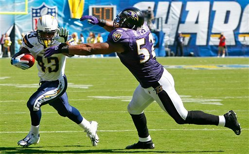 Baltimore Ravens linebacker Ray Lewis runs down San Diego Chargers running back Darren Sproles for a short loss during the Ravens' 31-26 victory in an NFL football game Sunday, Sept. 20, 2009, in San Diego. (AP Photo/Chris Park)