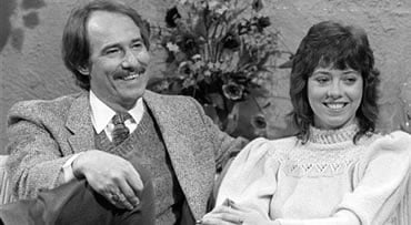 FILE- This March 5, 1981 file photo shows John Phillips of the pop group 'The Mamas and The Papas,' left, and his daughter MacKenzie, right shown during a taping of the John Davidson Show in Burbank, Calif. Phillips says she had a long-term sexual relatio