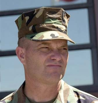FILE - This Jan. 11, 2002 file photograph shows then U.S. Marine Corp. Brig. Gen. Michael Lehnert, speaking before the arrival of the detainees at the U.S. Naval Base in Guantanamo, Cuba. (AP Photo/Tim Chapman, Pool, File)