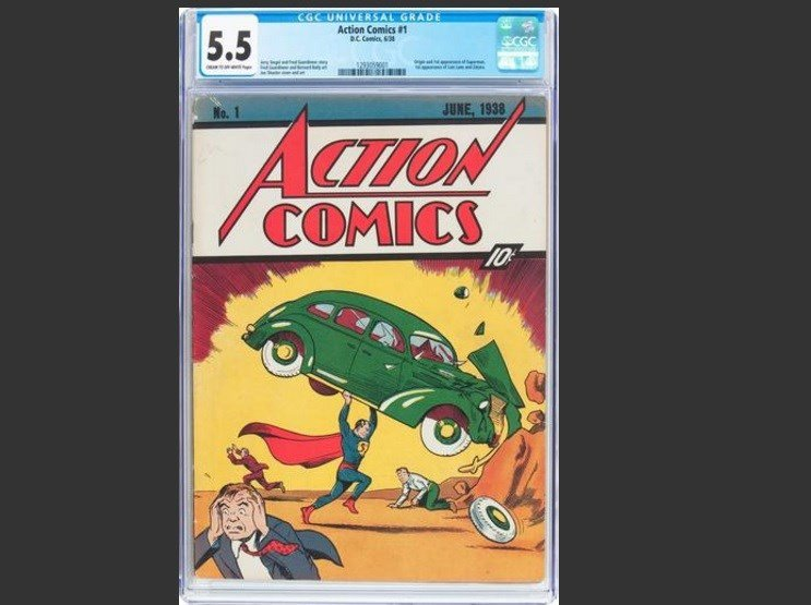 In a statement, Dallas-based Heritage Auctions said the copy of Action Comics No. 1, bearing a cover price of 10 cents, sold Thursday, Aug. 4, 2016, for $956,000. It's one of about 100 copies of the edition known to exist. (Jose Hernandez/Heritage Auction