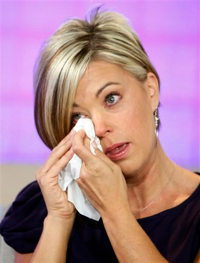 "FILE - In this Aug. 10, 2009 file photo, Kate Gosselin dries her eyes during her interview on the NBC ""Today"" television program in New York. The cover story of a celeb weekly will as likely be about a reality TV star, like Gosselin of ""Jon & Kate Plus Ei"