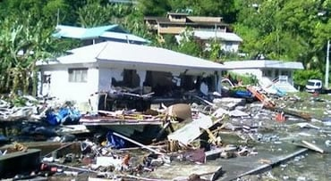 Devastation on a hillside in Pago, American Samoa after tsunami waves swept ashore early Tuesday Sept. 29, 2009.