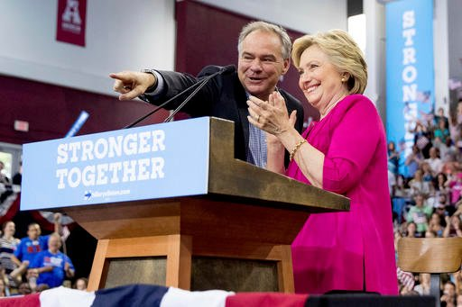 In this July 29, 2016, photo, Democratic presidential candidate Hillary Clinton and Democratic vice presidential candidate, Sen. Tim Kaine, D-Va.