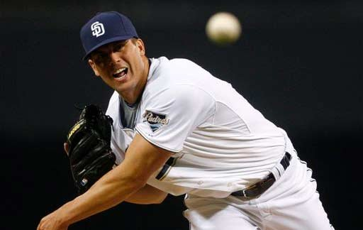 San Diego Padres starter Clayton Richard pitches against the Los Angeles Dodgers in the first inning of a baseball game Wednesday, Sept. 30, 2009, in San Diego. Richard pitched seven innings and allowed no runs and only one hit. (AP Photo/Lenny Ignelzi)