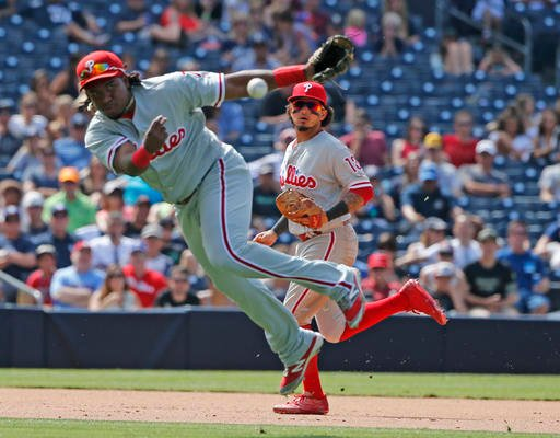 Philadelphia Phillies third baseman Maikel Franco makes an off-balance throw while trying to get San Diego Padres' Wil Myers at first base in the sixth inning of a baseball game Sunday, Aug. 7, 2016, in San Diego. Myers was safe. (AP Photo/Lenny Ignelzi)