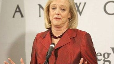 Former eBay chief executive Meg Whitman speaks at a news conference at the California Republican Convention in Indian Wells, Calif., on Saturday, Sept. 26, 2009. Whitman is seeking the Rep nomination for Governor of California.(AP Photo/Francis Specker)
