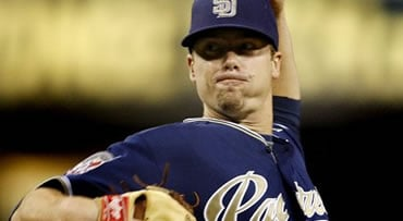 San Diego Padres starting pitcher Wade LeBlanc delivers a pitch in the first inning against the San Francisco Giants in a baseball game Saturday, Oct. 3, 2009 in San Diego. (AP Photo/Lenny Ignelzi)