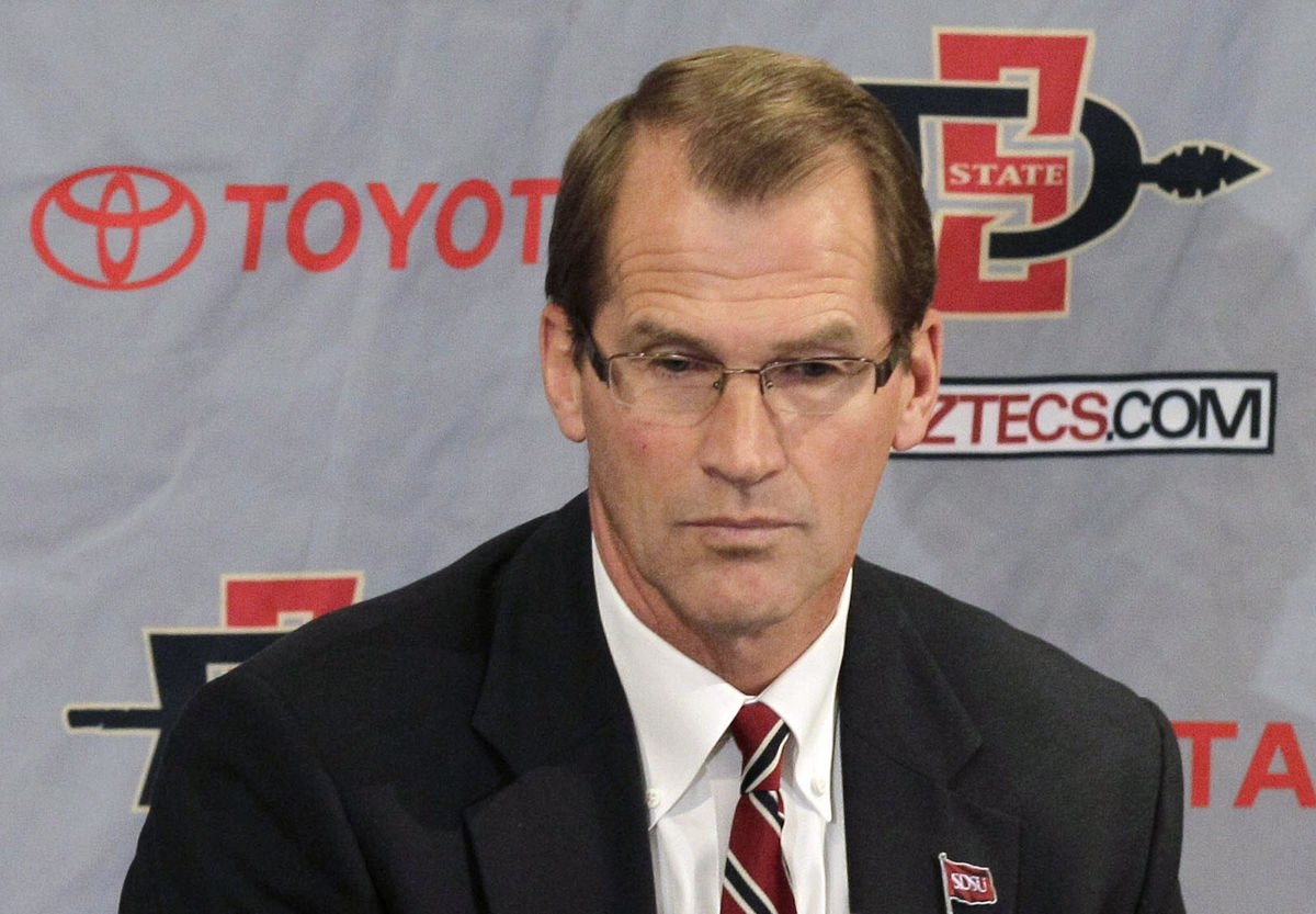San Diego State athletic director Jim Sterk during a news conference Wednesday, Dec. 7, 2011, in San Diego. (AP Photo/Gregory Bull)