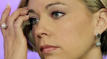 "Kate Gosselin, right, formerly of ""Jon & Kate Plus 8"" now renamed ""Kate Plus Eight"" on cable television's The Learning Channel, is interviewed on the NBC ""Today"" television in New York Monday, Oct. 5, 2009. (AP Photo/Richard Drew)"