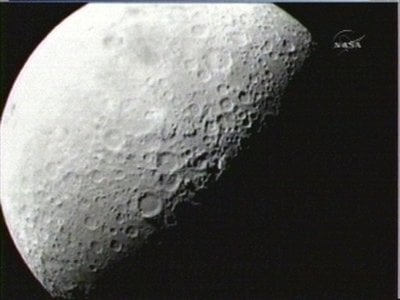 This image provided by NASA shows the first image taken of the moon from the Lunar Crater Observation and Sensing Satellite Friday morning Oct. 9, 2009. Two NASA spacecraft are barreling toward the moon at twice the speed of a bullet, about to crash into