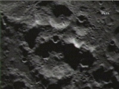 This image provided by NASA shows an image taken shortly after the Centaur rocket impacted the moon taken from the Lunar Crater Observation and Sensing Satellite Friday morning Oct. 9, 2009.