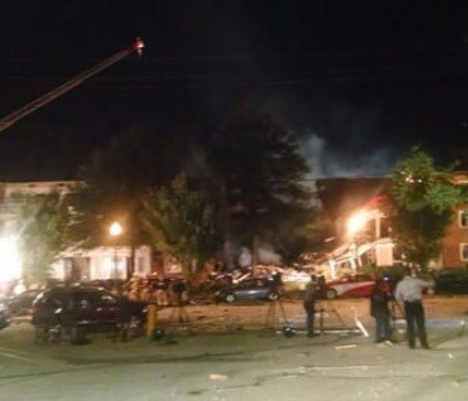 This Wednesday, Aug. 10, 2016 shows the Piney Branch Road apartment fire with structural collapse in Silver Spring, Md.