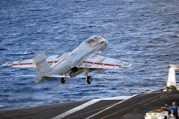 An EA-6B Prowler launches from the aircraft carrier USS Ronald Reagan (CVN 76). (U.S. Navy photo by Mass Communication Specialist Seaman Apprentice Oliver Cole/Released)