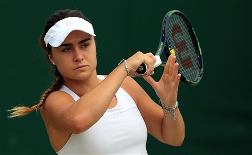 This is a July 2016 file photo of of rising British tennis star Gabriella Taylor in action at Wimbledon London.