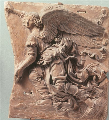 """An undated photo provided by Scala Art Resource shows what some art historians believe to be Leonardo da Vinci's terracotta relief """"Flying Angel,"""" which is part of a new exhibit opening Oct. 6, 2009 at the High Museum of Art in Atlanta. (AP Photo/Scala, A"""