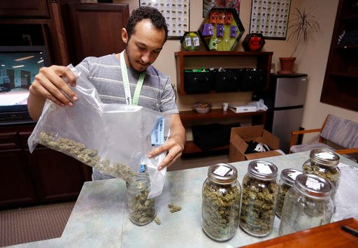 Budtender Miles Claybourne sorts strains of marijuana for sale into glass containers at The Station, a retail and medical cannabis dispensary, in Boulder, Colo., Thursday, Aug. 11, 2016.