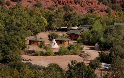 The Angel Valley Retreat Center in Sedona, Ariz. is photographed Tuesday, Oct. 13, 2009. Two people died and nineteen others were injured last Thursday during a ceremony at a sweat lodge, its remains partially seen at bottom left, at the retreat.