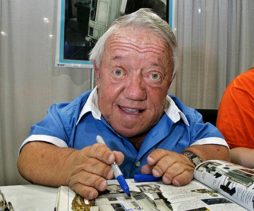 In this Saturday, May 26, 2007 file photo, actor Kenny Baker, who portrayed the R2-D2 in the first Star Wars movie, signs autographs at Star Wars Celebration IV.
