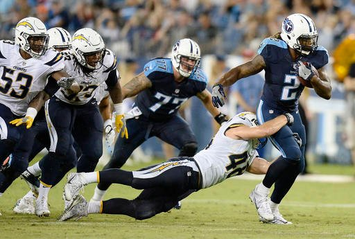 Tennessee Titans running back Derrick Henry (2) runs on San Diego Chargers linebacker Nick Dzubnar (48) during the first half of an NFL preseason football game, Saturday, Aug. 13, 2016, in Nashville, Tenn. (AP Photo/Mark Zaleski)