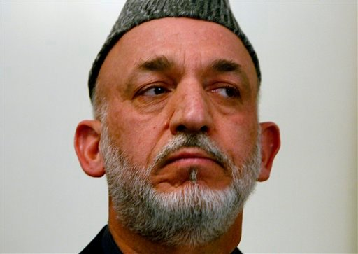 Afghan President Hamid Karzai is seen during a news conference, in Kabul, Afghanistan on Tuesday, Oct. 20, 2009.  (AP Photo/Musadeq Sadeq)