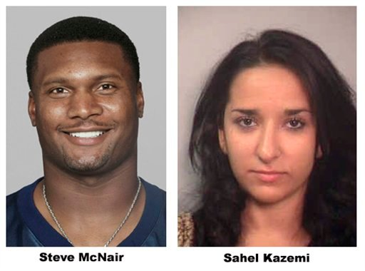 FILE - This combo shows Steve McNair, left, in a 2003 season file photo and Sahel Kazemi is shown in this undated booking file photo from the Davidson County. (AP Photo/File)