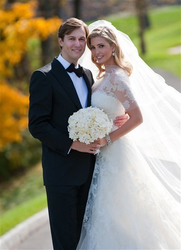 In this image released by Fred Marcus Photography, Ivanka Trump, right, and Jared Kushner are shown Sunday, Oct. 25, 2009 at their wedding at Trump National Golf Club in Bedminster, NJ.  (AP Photo/Fred Marcus Photography, Brian Marcus)