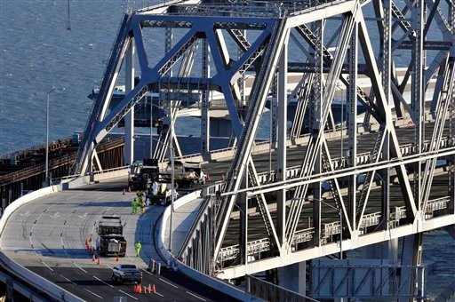 Crews repair parts of the San Francisco-Oakland Bay Bridge in San Francisco, Wednesday Oct. 28, 2009. (AP Photo/Russel A. Daniels)