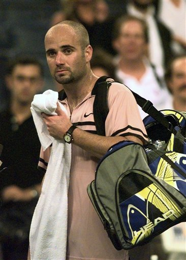 FILE - In this Sept. 2, 1997 file picture Andre Agassi, seen, following his match against Australia's Patrick Rafter at the U.S. Open in New York.